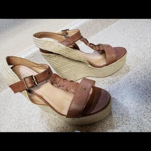 SBICCA Brown Natural Leather Wedges Sandals